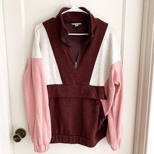 American eagle color block half zip sweater